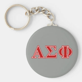 Alpha Sigma Phi Red Letters Basic Round Button Keychain