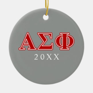 Alpha Sigma Phi Red Letters Double-Sided Ceramic Round Christmas Ornament