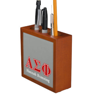 Alpha Sigma Phi Red Letters Pencil Holder