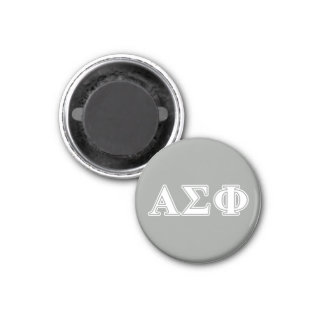 Alpha Sigma Phi White and Grey Letters 1 Inch Round Magnet