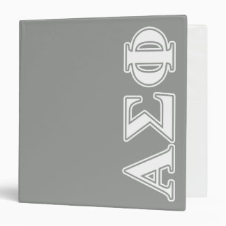 Alpha Sigma Phi White and Grey Letters Vinyl Binder