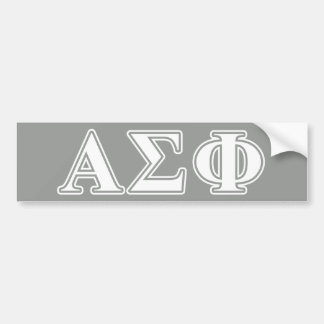 Alpha Sigma Phi White and Grey Letters Bumper Sticker