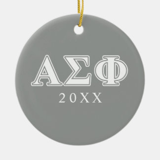 Alpha Sigma Phi White and Grey Letters Ceramic Ornament