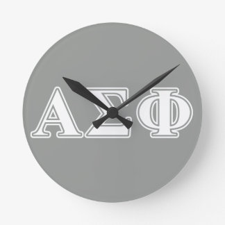 Alpha Sigma Phi White and Grey Letters Round Wallclocks