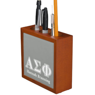 Alpha Sigma Phi White and Grey Letters Pencil/Pen Holder