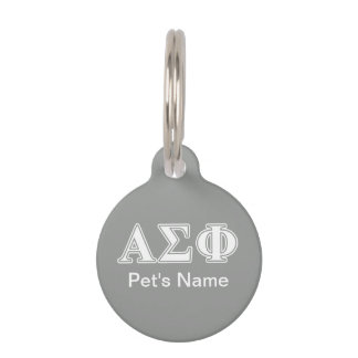 Alpha Sigma Phi White and Grey Letters Pet Name Tags