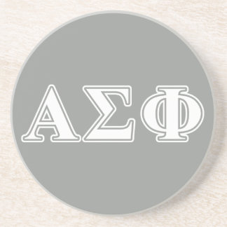 Alpha Sigma Phi White and Grey Letters Drink Coaster