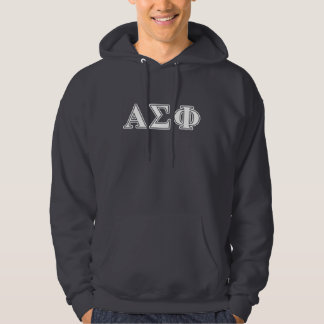 Alpha Sigma Phi White and Grey Letters Hoodie