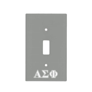 Alpha Sigma Phi White and Grey Letters Light Switch Covers