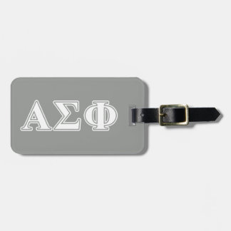 Alpha Sigma Phi White and Grey Letters Travel Bag Tags