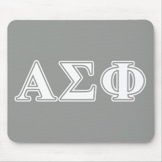 Alpha Sigma Phi White and Grey Letters Mouse Pad