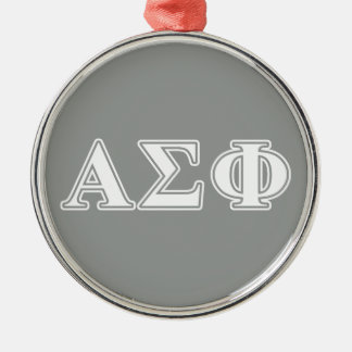 Alpha Sigma Phi White and Grey Letters Christmas Ornaments