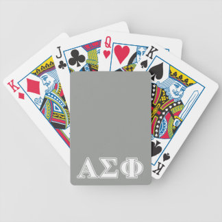 Alpha Sigma Phi White and Grey Letters Bicycle Card Decks
