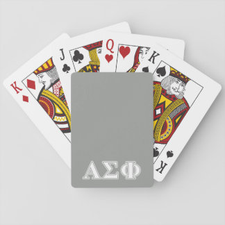 Alpha Sigma Phi White and Grey Letters Poker Cards