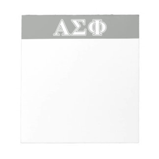 Alpha Sigma Phi White and Grey Letters Scratch Pad