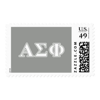 Alpha Sigma Phi White and Grey Letters Stamp