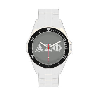 Alpha Sigma Phi White and Grey Letters Watches