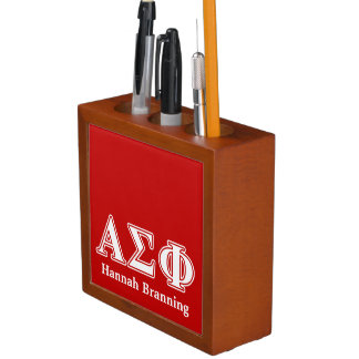 Alpha Sigma Phi White and Red Letters Pencil Holder