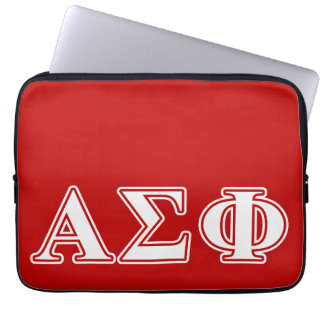 Alpha Sigma Phi White and Red Letters Laptop Computer Sleeves