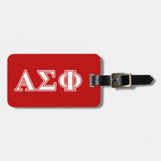 Alpha Sigma Phi White and Red Letters Travel Bag Tags