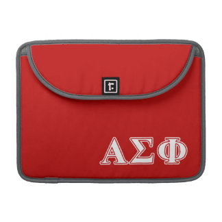 Alpha Sigma Phi White and Red Letters Sleeves For MacBooks