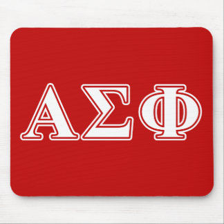 Alpha Sigma Phi White and Red Letters Mousepads