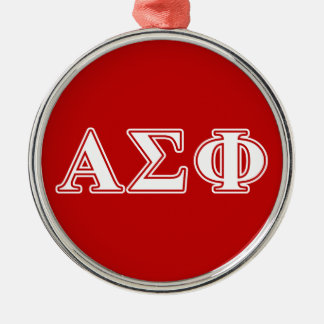 Alpha Sigma Phi White and Red Letters Christmas Tree Ornaments