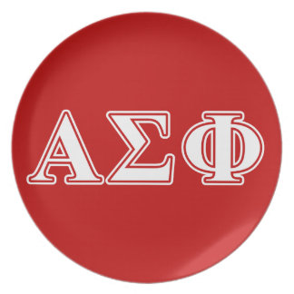 Alpha Sigma Phi White and Red Letters Party Plate
