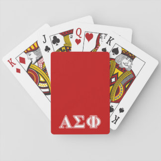 Alpha Sigma Phi White and Red Letters Poker Cards