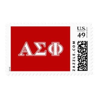 Alpha Sigma Phi White and Red Letters Stamps