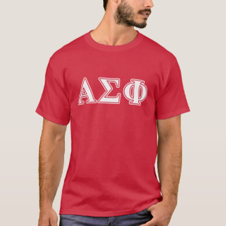 Alpha Sigma Phi White and Red Letters T-Shirt