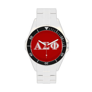 Alpha Sigma Phi White and Red Letters Wrist Watches