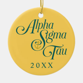 Alpha Sigma Tau Vertical Mark 2 Ceramic Ornament