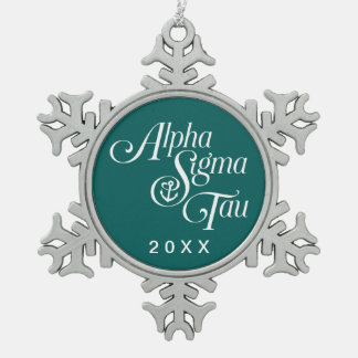 Alpha Sigma Tau Vertical Mark Snowflake Pewter Christmas Ornament