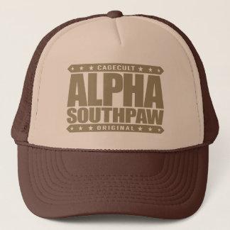 ALPHA SOUTHPAW - Unorthodox Lefty Warrior, Gold Trucker Hat