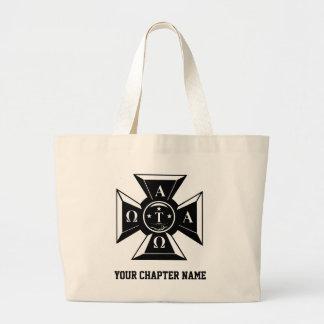 Alpha Tau Omega Badge Black & White Jumbo Tote Bag