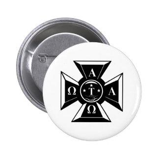 Alpha Tau Omega Badge Black & White 2 Inch Round Button