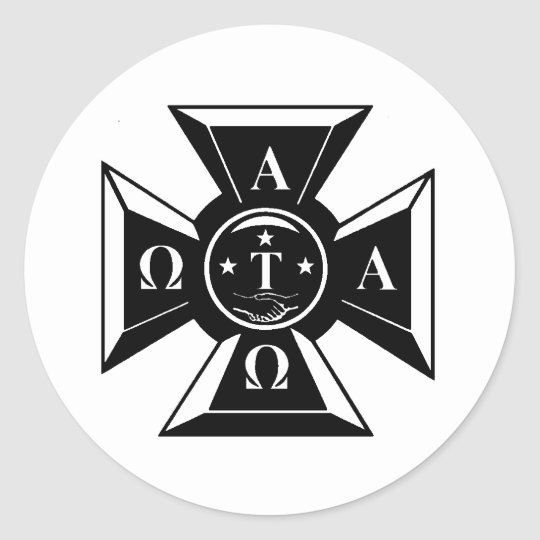 Alpha Tau Omega Badge Black White Classic Round Sticker Zazzle