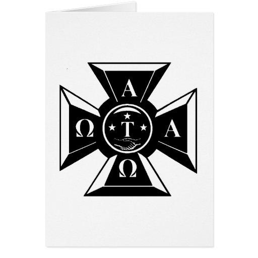 Alpha Tau Omega Badge Black & White Greeting Card