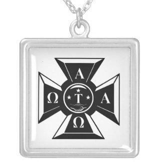 Alpha Tau Omega Badge Black & White Square Pendant Necklace