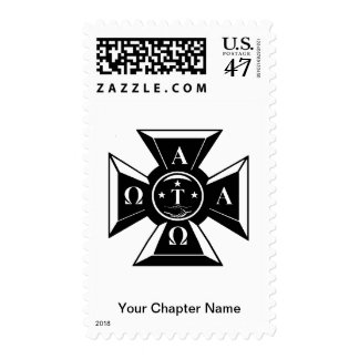 Alpha Tau Omega Badge Black & White Postage