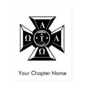 Alpha Tau Omega Badge Black & White Postcards