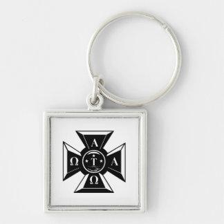 Alpha Tau Omega Badge Black & White Silver-Colored Square Keychain