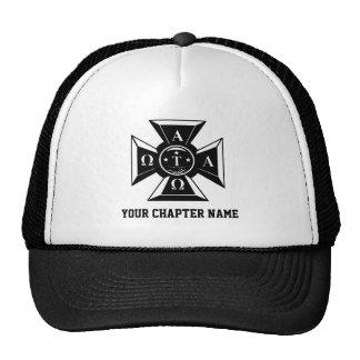 Alpha Tau Omega Badge Black & White Trucker Hats