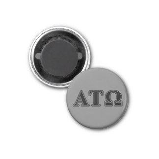 Alpha Tau Omega Black Letters 1 Inch Round Magnet