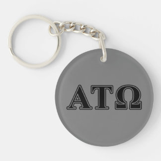 Alpha Tau Omega Black Letters Double-Sided Round Acrylic Keychain