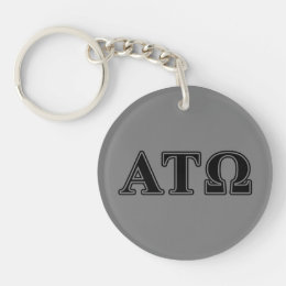 Alpha Tau Omega Black Letters Keychain