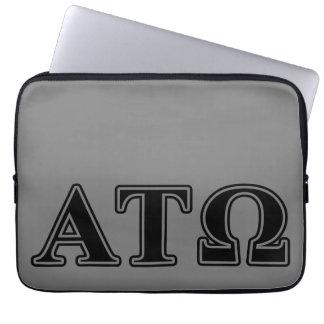 Alpha Tau Omega Black Letters Laptop Sleeves