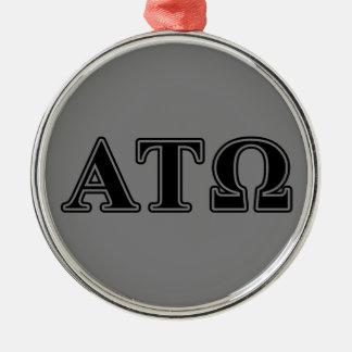 Alpha Tau Omega Black Letters Round Metal Christmas Ornament