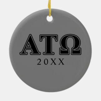 Alpha Tau Omega Black Letters Double-Sided Ceramic Round Christmas Ornament